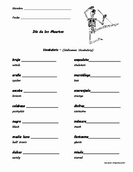 Dia De Los Muertos Worksheet Awesome Da De Los Muertos Day Of the Dead Vocabulario