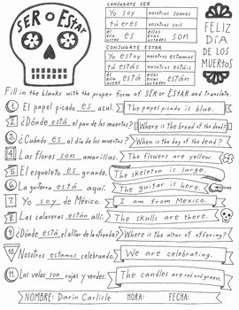 Dia De Los Muertos Worksheet Beautiful Dia De Los Muertos Ser and Estar Worksheet No Prep