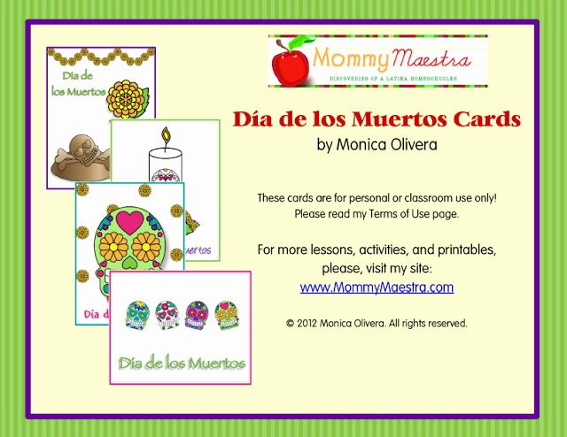 Dia De Los Muertos Worksheet Beautiful Mommy Maestra Da De Los Muertos Note Cards Printable