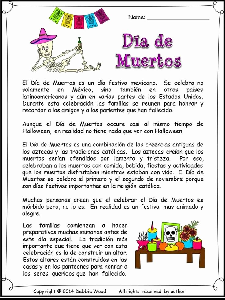 Dia De Los Muertos Worksheet Beautiful Spanish Day Of the Dead Dia De Muertos
