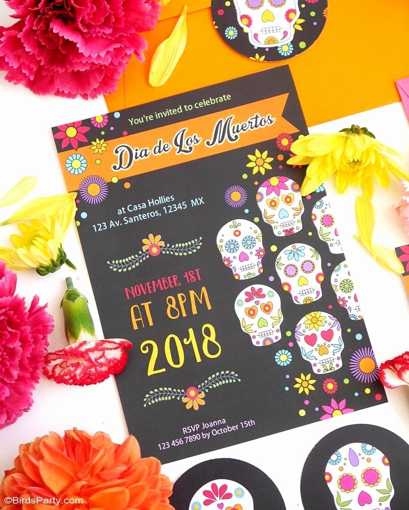 Dia De Los Muertos Worksheet Fresh Dia De Los Muertos Party Printables Invitations