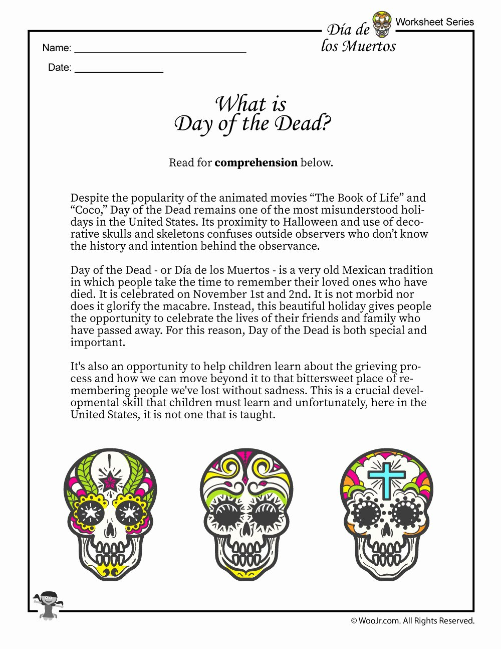 Dia De Los Muertos Worksheet New Dia De Los Muertos Worksheet – Akademiexcel