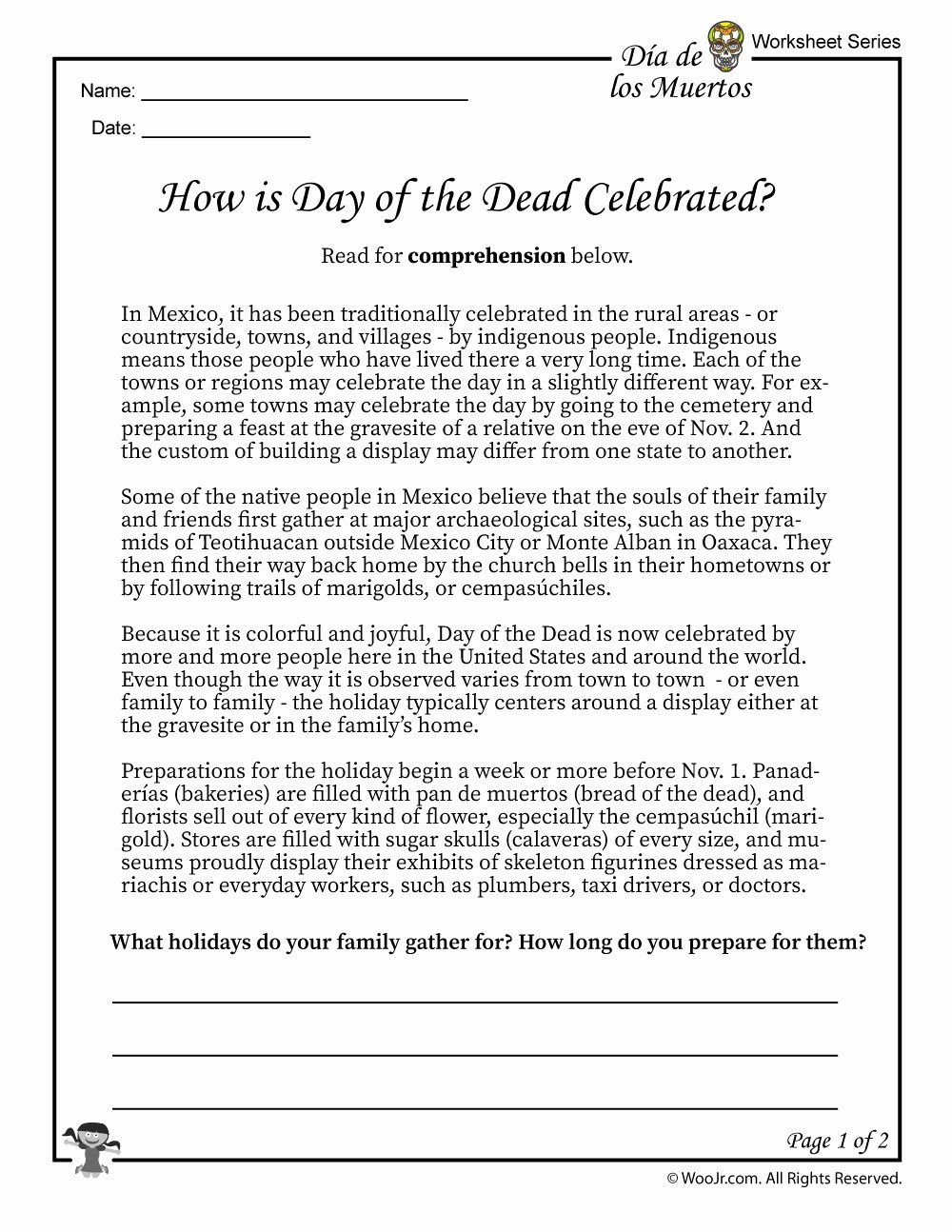 Dia De Los Muertos Worksheet Unique Day Of the Dead Facts Worksheet 1