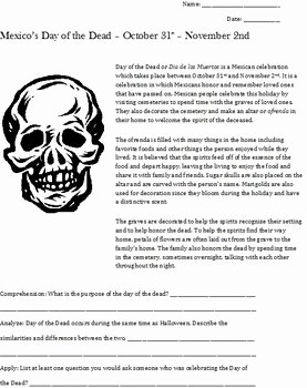 Dia De Los Muertos Worksheet Unique Day Of the Dead or Dia De Los Muertos Skull Art Lesson by