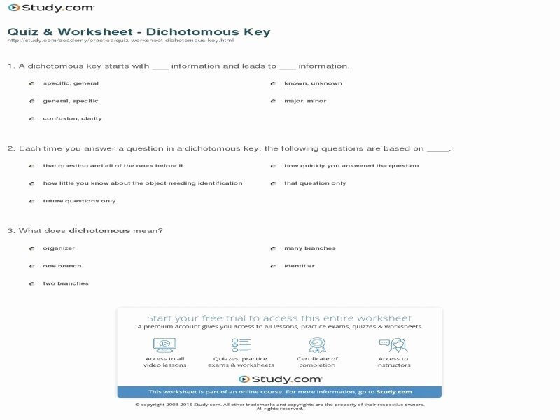 Dichotomous Key Worksheet Middle School Elegant Dichotomous Key Worksheet Middle School Free Printable