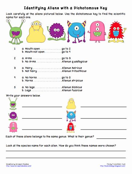 Dichotomous Key Worksheet Middle School Unique Bookish Ways In Math and Science Monday Science Freebie