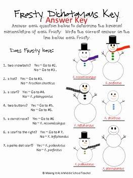 Dichotomous Key Worksheet Pdf Elegant Snowman Dichotomous Key by Making It Teacher