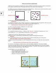 Diffusion and Osmosis Worksheet Answers Luxury 6 Plete the Following Sentence Osmosis is the Passage