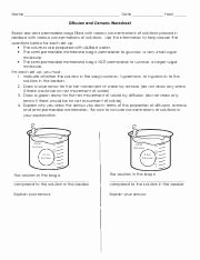 Diffusion and Osmosis Worksheet Answers New Diffusion and Osmosis Worksheet