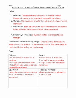 Diffusion and Osmosis Worksheet Best Of Diffusion and Osmosis Worksheet Answers