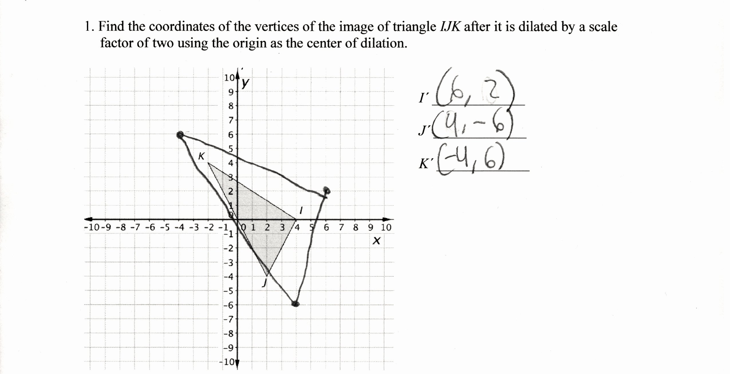 Dilations and Scale Factor Worksheet Beautiful Dilation Coordinates