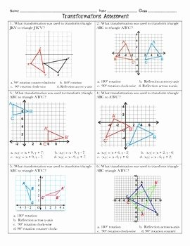 Dilations Translations Worksheet Answers Elegant Transformations assessment 8th Grade Math
