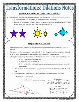 Dilations Translations Worksheet Answers Inspirational Transformations Geometry Transformations Dilations Notes