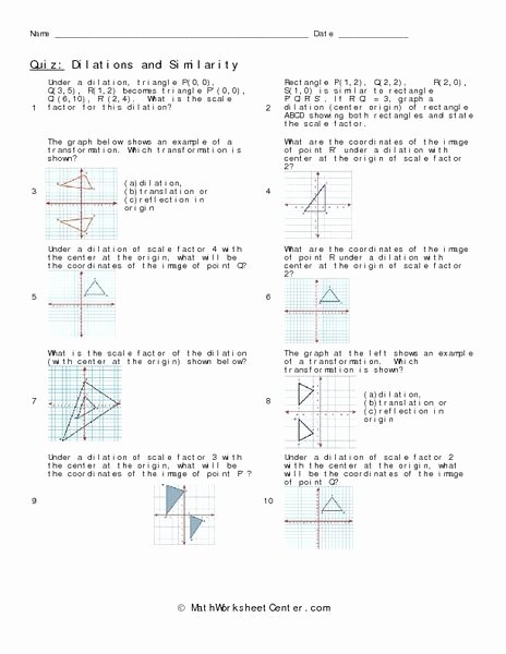 Dilations Translations Worksheet Answers Lovely Dilations and Similarity Worksheet Lesson Planet