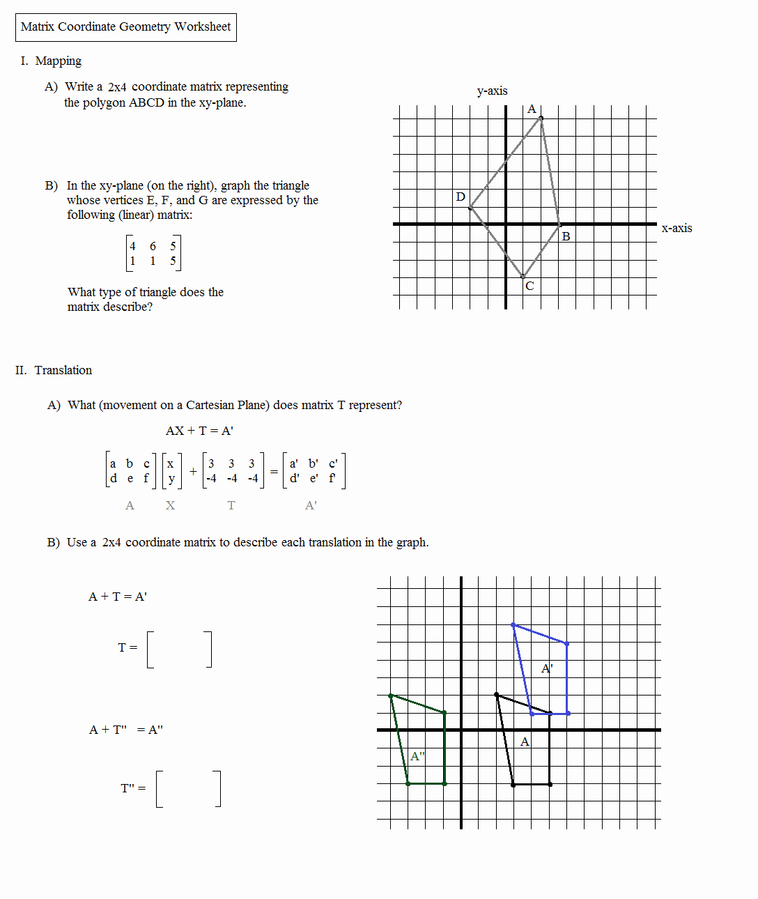 Dilations Translations Worksheet Answers Luxury Math Plane Matrix Iii Coordinate Geometry