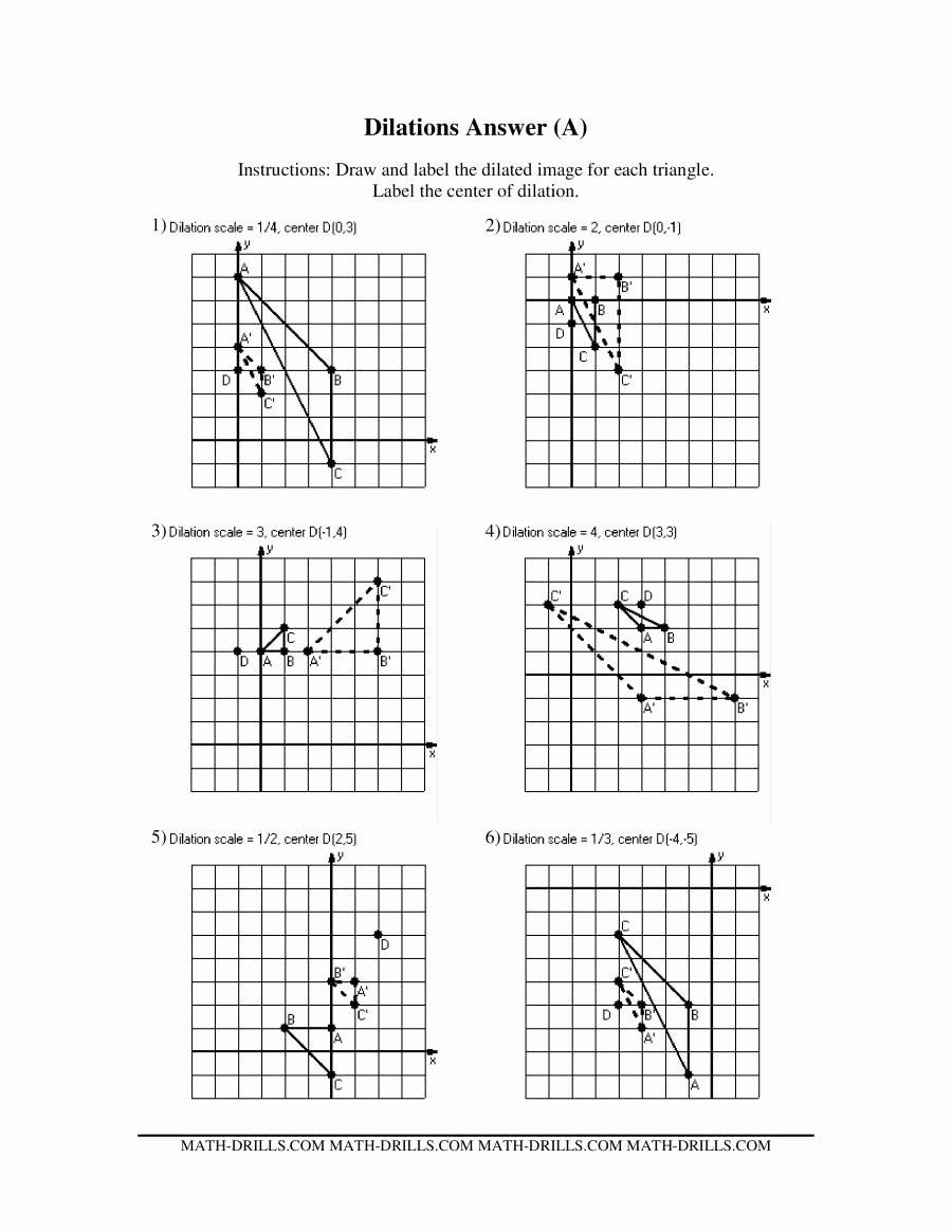 Dilations Translations Worksheet Answers New Dilations Old Version A