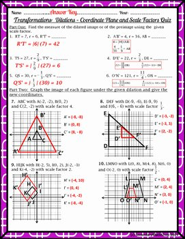Dilations Worksheet Answer Key Lovely Transformations Dilations Coordinate Plane and Scale