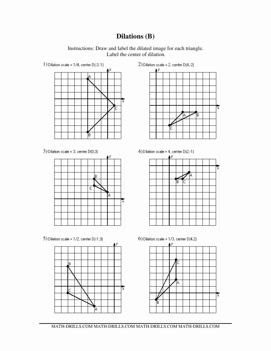 Dilations Worksheet Answer Key Lovely Translation Reflection Rotation Dilation Worksheets