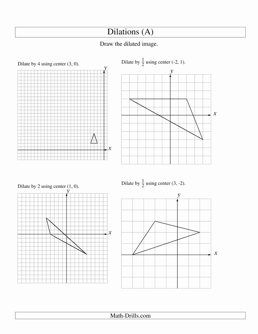 Dilations Worksheet Answer Key Luxury Dilations Using Various Centers A