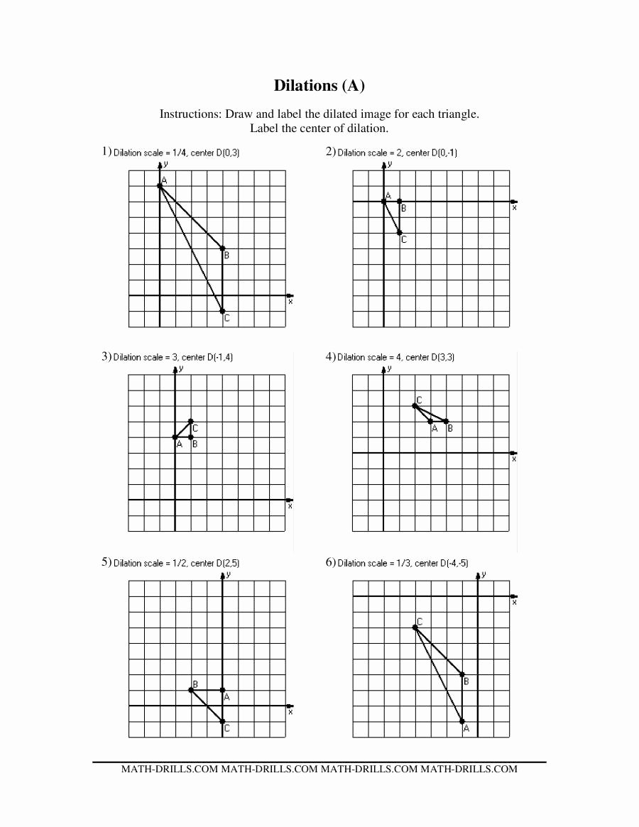 Dilations Worksheet with Answers Luxury Dilations Old Version A