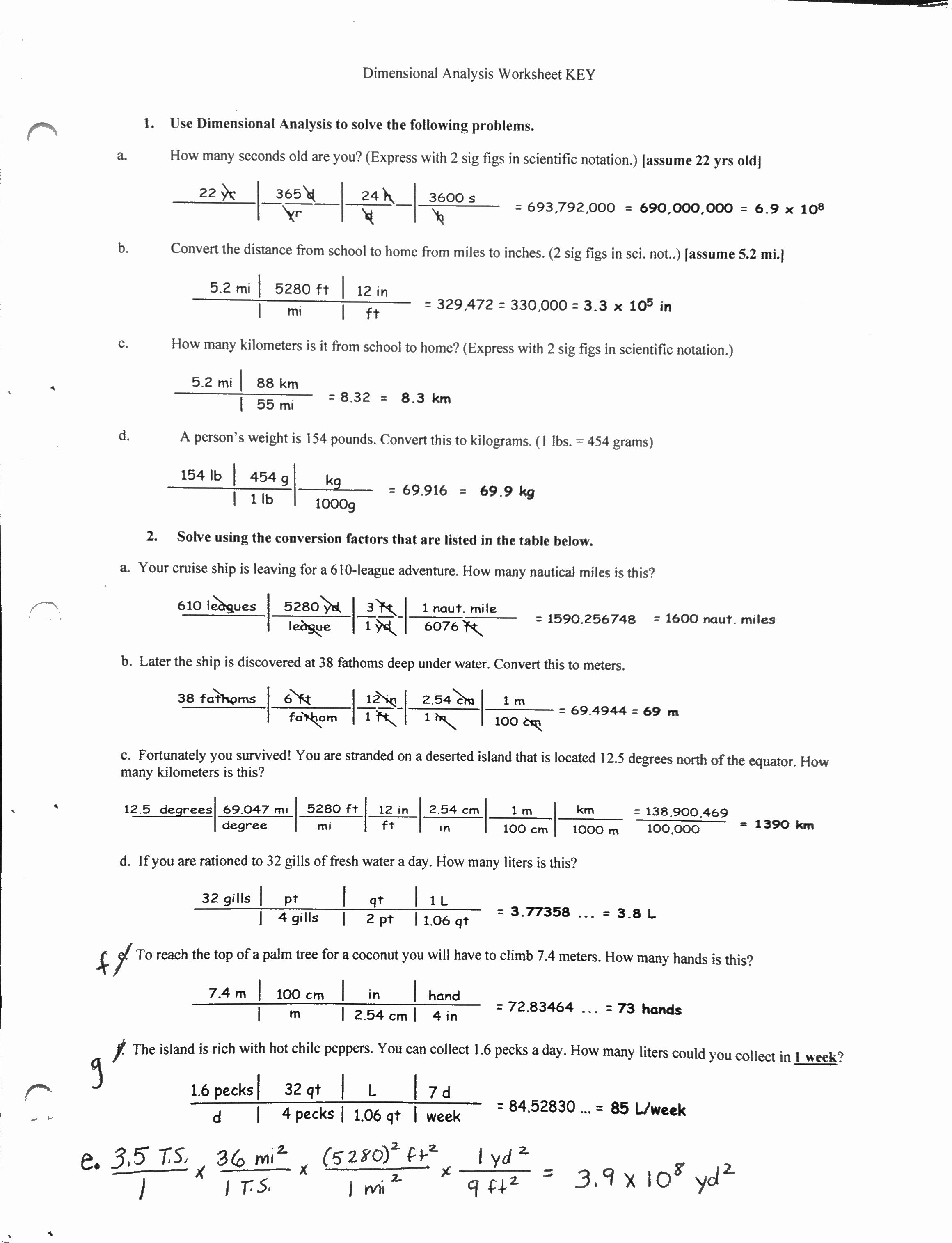 Dimensional Analysis Practice Worksheet Awesome Dimensional Analysis Worksheet with Answer Key the Best