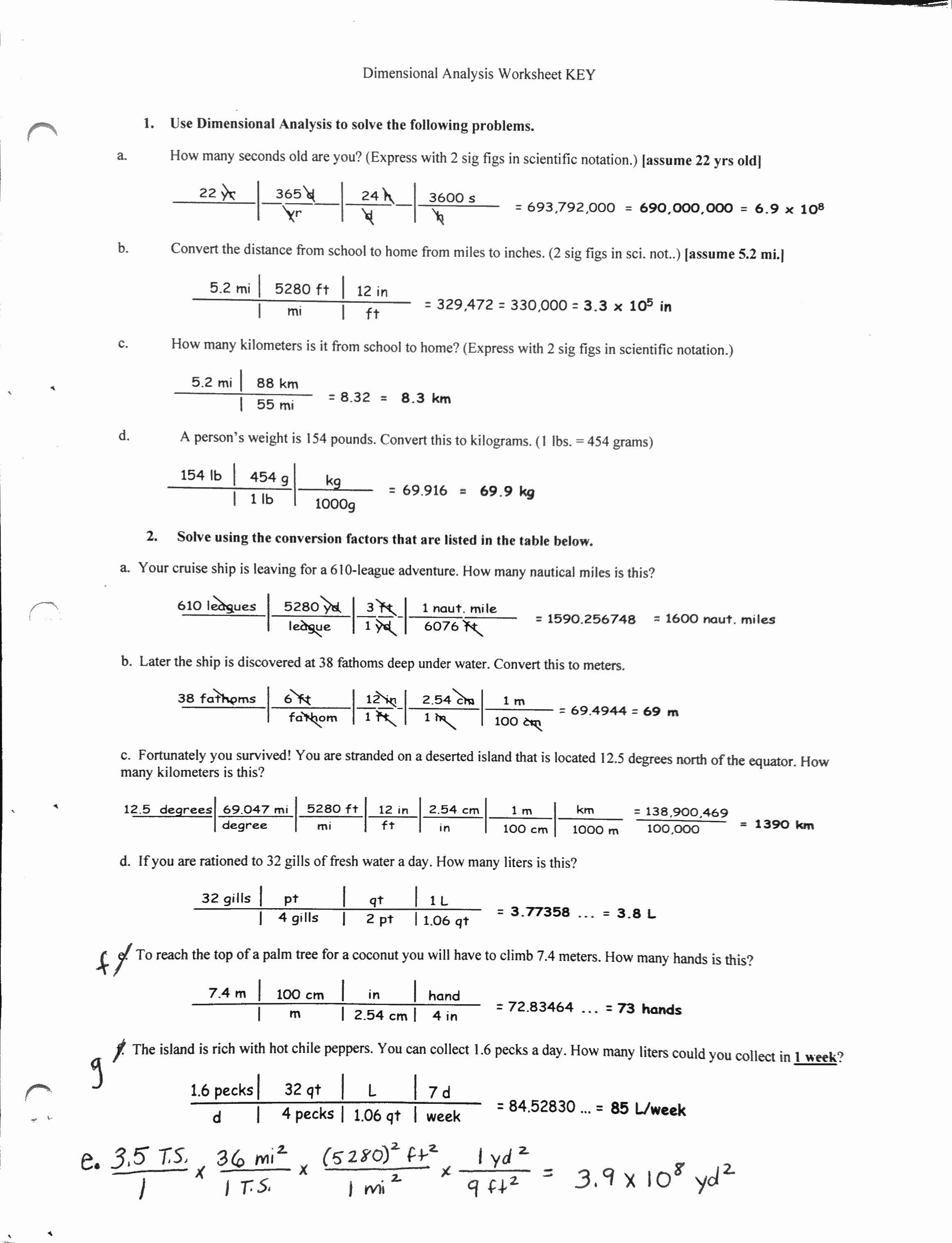 Dimensional Analysis Practice Worksheet Awesome Dimensional Analysis Worksheet with Answer Key the Best