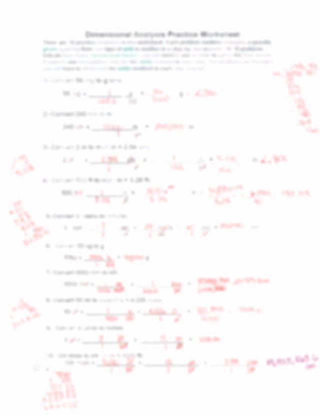 Dimensional Analysis Practice Worksheet Best Of Dimensional Analysis Practice Problems Answer Key Pdf