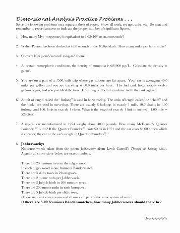 Dimensional Analysis Problems Worksheet Beautiful Intermediate Prob