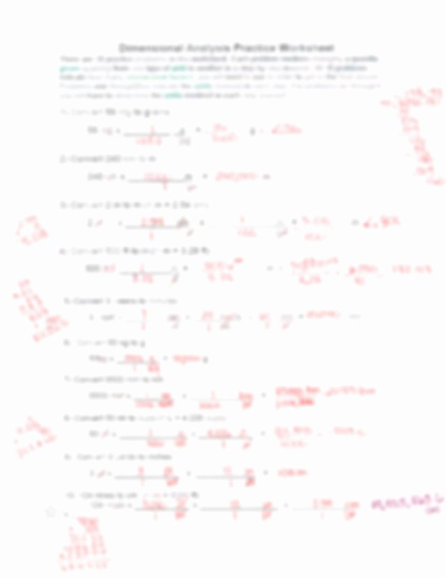 Dimensional Analysis Problems Worksheet Lovely Dimensional Analysis Practice Problems Answer Key Pdf