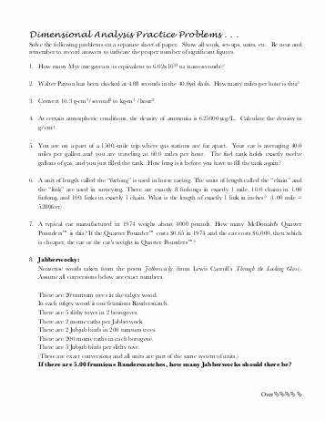 Dimensional Analysis Problems Worksheet Lovely Dimensional Analysis Worksheet Answers