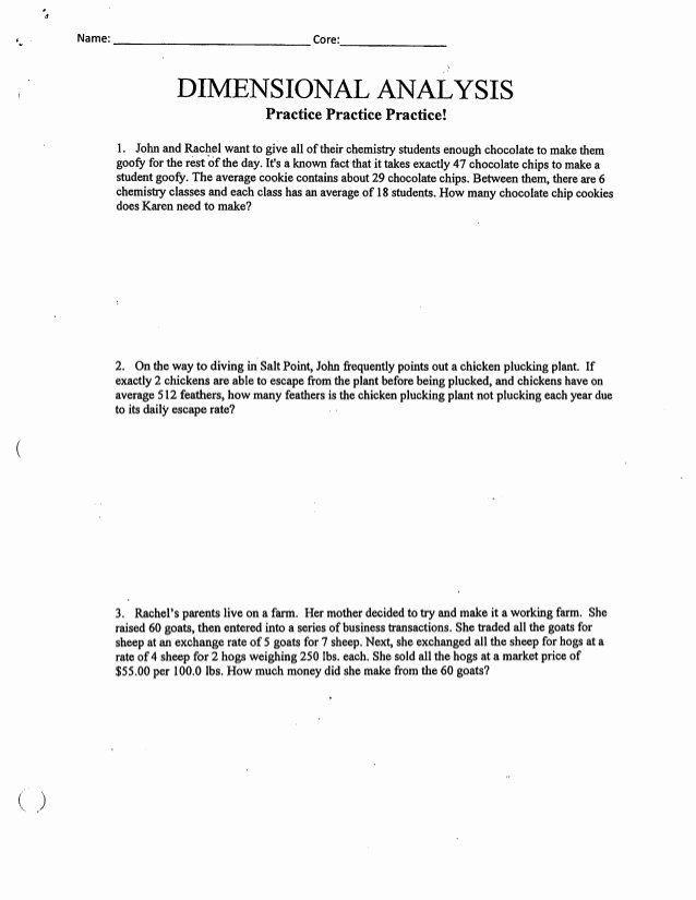 Dimensional Analysis Worksheet 2 Beautiful Dimensional Analysis Packet