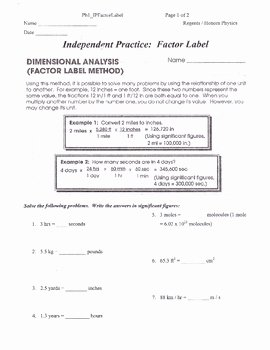Dimensional Analysis Worksheet 2 New Dimensional Analysis or Factor Label Method Packet by