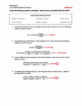 Dimensional Analysis Worksheet and Answers Unique Unit Conversions Dimensional Analysis and Scientific