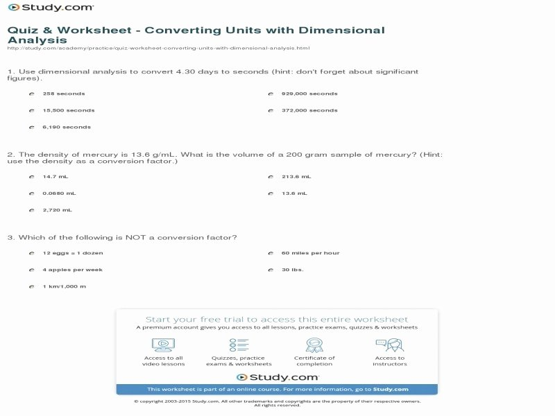 Dimensional Analysis Worksheet Answers Chemistry New Chemistry Unit 1 Worksheet 6 Dimensional Analysis Answers
