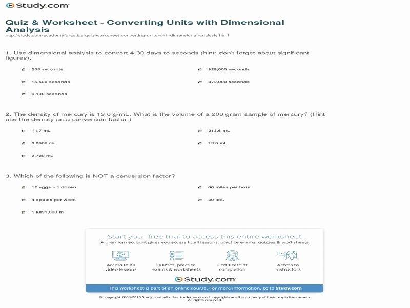 Dimensional Analysis Worksheet Answers Fresh Chemistry Unit 1 Worksheet 6 Dimensional Analysis Answers
