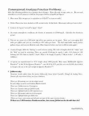 Dimensional Analysis Worksheet Answers Inspirational Dimensional Analysis Worksheet Answers