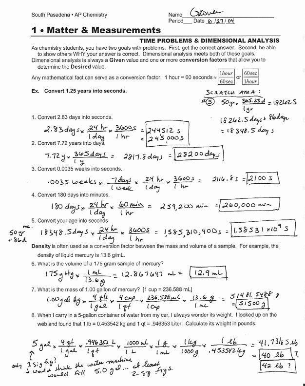 Dimensional Analysis Worksheet Chemistry Beautiful Dimensional Analysis Worksheet Answers