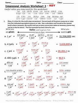 Dimensional Analysis Worksheet Key Awesome Dimensional Analysis Unit Analysis by Barry Schneiderman