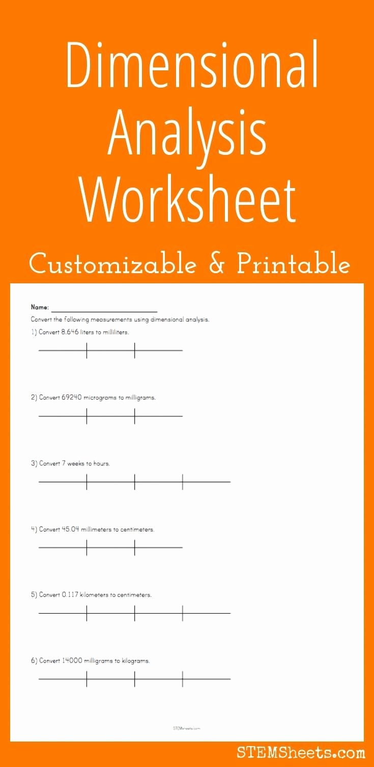 Dimensional Analysis Worksheet Key Luxury Dimensional Analysis Worksheet Customize and Print