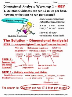 Dimensional Analysis Worksheet Key Unique Dimensional Analysis Warm Up Funny