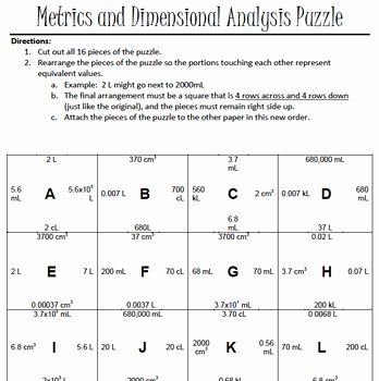 Dimensional Analysis Worksheet Key Unique Metrics and Dimensional Analysis Puzzle by Ricke S Rocket