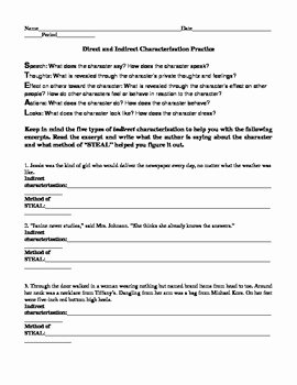 Direct and Indirect Characterization Worksheet Awesome Direct and Indirect Characterization Practice by Shayla