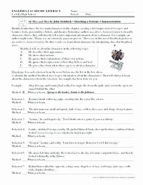 Direct and Indirect Characterization Worksheet Beautiful Characterization Worksheets for Middle School
