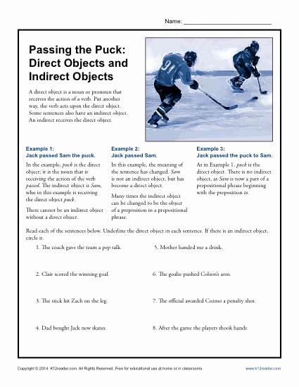 Direct and Indirect Characterization Worksheet Best Of Passing the Puck Direct Objects and Indirect Objects