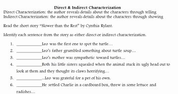 Direct and Indirect Characterization Worksheet Fresh Direct and Indirect Characterization by Mcreading In the