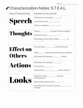 Direct and Indirect Characterization Worksheet Inspirational Notes and Practice with Steal Characterization by Bell to