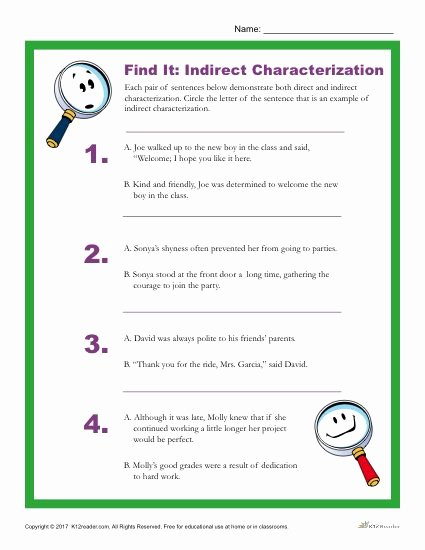 Direct and Indirect Characterization Worksheet Luxury which Sentence is An Example Of Indirect Characterization