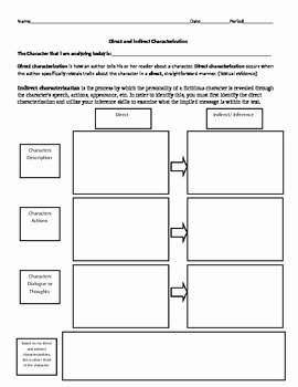 Direct and Indirect Characterization Worksheet Unique Adono Teaching Resources
