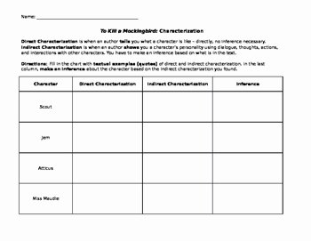 Direct and Indirect Characterization Worksheet Unique to Kill A Mockingbird Direct and Indirect
