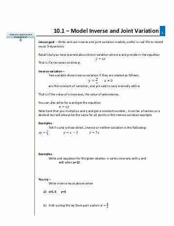 Direct and Inverse Variation Worksheet Awesome Direct and Inverse Variation Worksheet